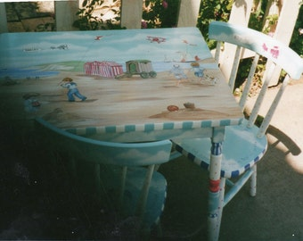 Day at the beach table and chair set child's hand painted table and chairs