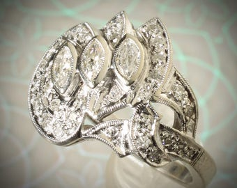 Estate 14K White Gold Art Deco Vintage 1.25 CTW Diamond Engagement Ring US Size 6.5