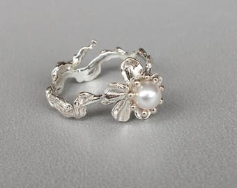 Sakura Sterling Silver Ring / Sakura with Pearl Ring / Cherry Blossom  Ring / Flower sterling silver ring