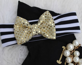 Black and white stripes headbands with very cute gold bow. Baby Turbans. Turban Headbands. Baby Headband
