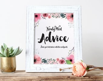 MARRIAGE ADVICE - Sign and Advice Cards for Bridal Shower - Pink Flowers | Floral | Spring | Garden Theme [Instant Digital Download]