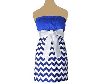 Blue + White Chevron Game Day Dress