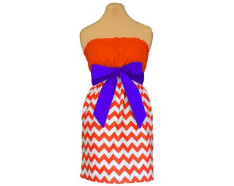 Orange + Purple Chevron Game Day Dress