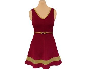 Deep Red + Gold Skater Dress