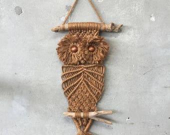 Vintage Macrame Owl Wall Hanging (HZU7NX)