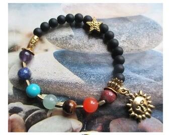 """Bracelet 7 chakras """"Harmonisation"""" en perles de gemme sur support or antique"""