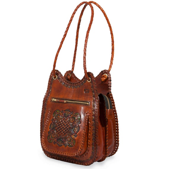Items similar to Two Compartment Leather Shoulder Bag ...