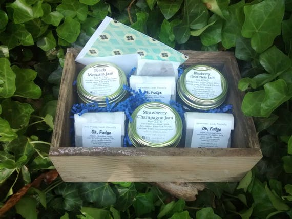 Cordial Jam Gift Crate by WEE, Gift Set, Bread GIft, Jam, Preserves, Food Gift, Fudge, Strawberry Jam, Blueberry, Peach, Champagne