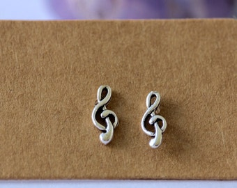 Sterling Silver Treble Clef Stud Earrings | Sterling Silver | Stud Earrings | Music | Minimalistic | Music Earrings | Studs | Earrings