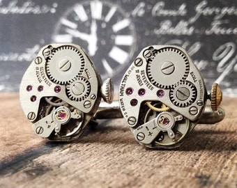 Steampunk Cufflinks, Watch Part Cufflinks, Silver Cufflinks, Steampunk Jewelry, Watch Movements, Silver Watch, Men's Jewelry, Cufflinks