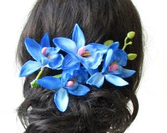 Long Blue Orchid Flower Stem Hair Clip Fascinator Headpiece Rockabilly 50s 1639