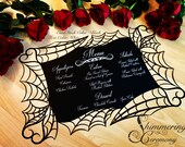 Spiderweb gothic table placemats with custom printed menus