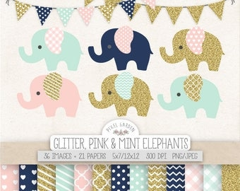 Gold Glitter Elephant Clipart. Baby Shower, Nursery Clip Art, Digital Paper. Banner in Mint, Pink, Gold & Navy. Gold Glitter Digital Paper.