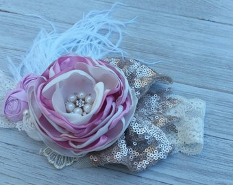 Rose and Ivory couture headband