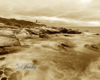 Beavertail Lighthouse ~ Beavertail State Park, Jamestown, Rhode Island, Lighthouses, Photograph, Nautical, Ocean, Seaside, Coastal Decor,Art