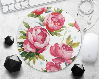 Red Flower MousePad Floral Mouse Mat Roses Mouse Pad Desk Teacher Gift for Her Mouse Pad Woman Mouse Mat Cute MousePad Laptop Accessories