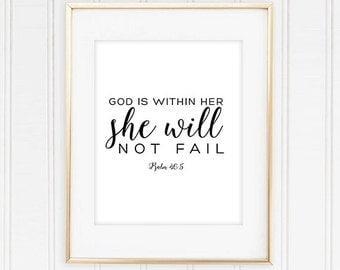 God is Within Her She Will Not Fail Psalm 46:5 Bible Verse Printable - 8x10 Instant Download- Christian Home Decor, Scripture Art, Bible Art
