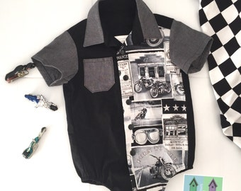 Baby boy romper with motorcycle, cars, hotrod for summer
