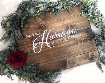 Wedding Guest Book Alternative | Wedding Guestbook | Wood Wedding Guest Book | Rustic Wedding Decor | Sweetheart Table | Mr and Mrs | Name