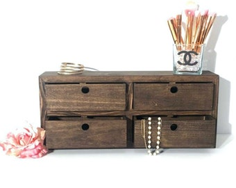 Wooden Jewelry Box | Makeup Organizer | Makeup Vanity | Desk Organizer | Wooden Bin Storage | Makeup Storage | Jewelry Organizer | Drawers