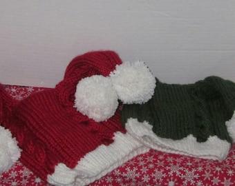 Double Tail Knit Santa Hat