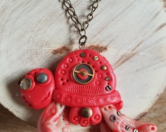 Handmade Polymer clay Steampunk red turtle necklace