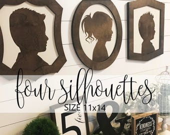 Farmhouse Style Silhouettes (QUANTITY 4) 11x14 / child silhouettes / child portraits / wood silhouettes