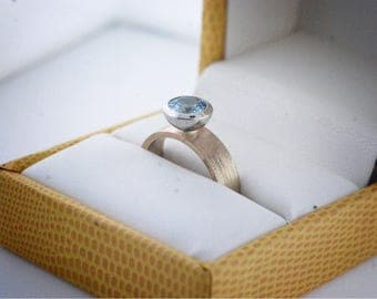 14k Aquamarine Bezel set ring