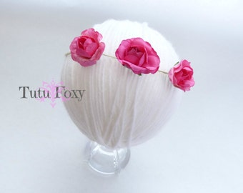 Hot Pink flower tieback, Hot Pink flower headband, newborn flower Headband, baby flower headband, newborn flower tieback,