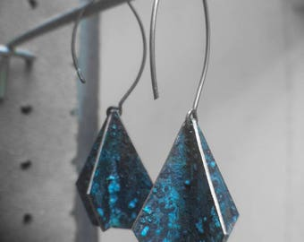 Patinated copper earrings