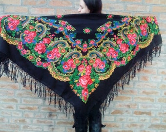 Big Vintage black woolen shawl.Ukrainian shawl. Russian shawl Boho \Folk accessory
