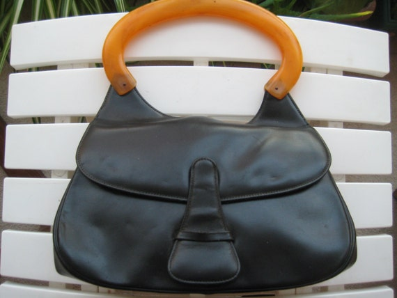 Black Leather & Lucite Handbag