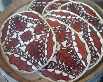 6 TAPA CLOTH PLACEMATS Vintage Handmade Set