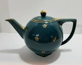 Vintage Hall Teapot, Green Star Tea Pot, Six Cup Tea Server, Gold Star Serving Piece, China Teapot