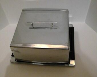 Square Chrome Cake Carrier, Vintage with Lid, Dessert Holder, Snack Storage, Kitchen Decor