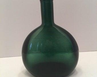 Vintage Green Bottle ~ Large Bottle ~ Round Bottle ~ Craft Supply