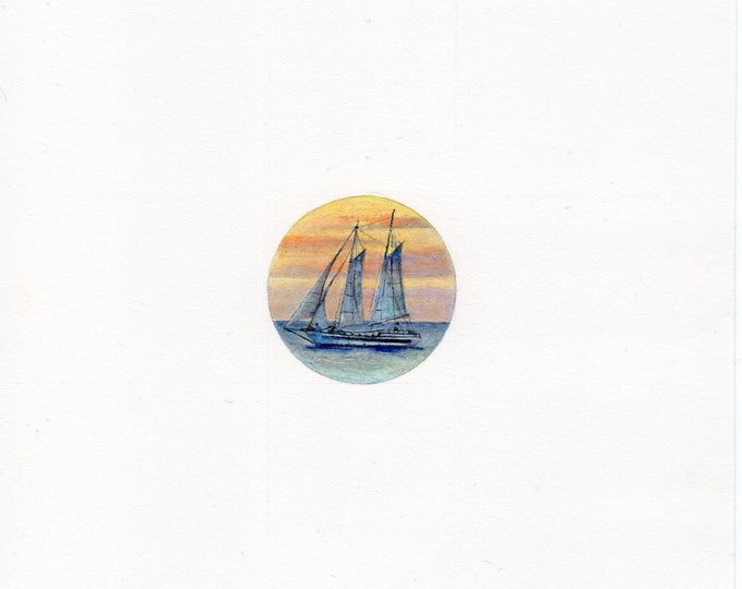 "Print of miniature painting of a Tall Ship. 1 1/4"" x 1 1/4"" print of original a Tall Ship painting on 5"" square german etching paper"