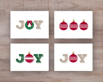 Printable Christmas Cards - JOY Collection - Set of 4, Digital Instant Download 5x7