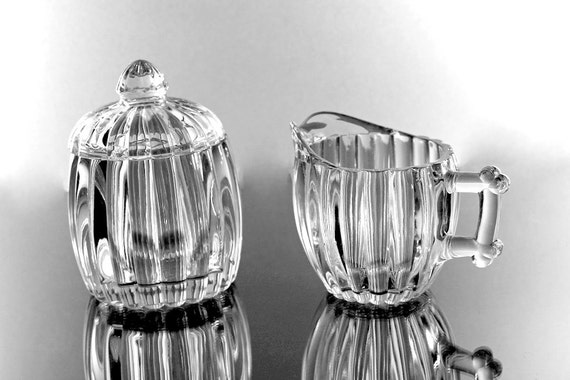 Jeannette Glass Creamer, Covered Relish Jar, National Pattern, Depression Glass, Clear Pressed Glass, Rib and Dot Design, Sugar and Creamer
