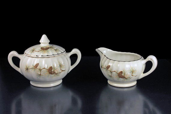 Sugar Bowl and Creamer, W S George, Pine Cone Pattern, Bolero Shape, Green Needles, Brown Pine Cones, Gold Trimmed