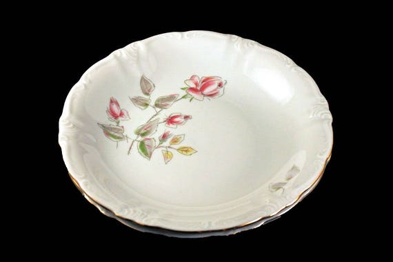 Coupe Soup Bowl, Winterling Bavaria, Germany, Floral Rose Pattern, Gold Trimmed, Set of 2