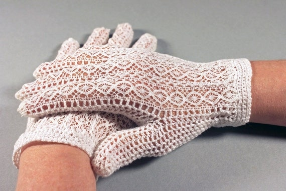 Ladies Gloves, Open Lace and Crochet, White, Size Small, Faux Pearl Button, Wedding Gloves, Day Gloves