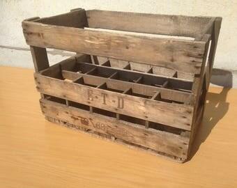 Former locker box wine wood ETD 10/68 15 Deco Vintage bottles