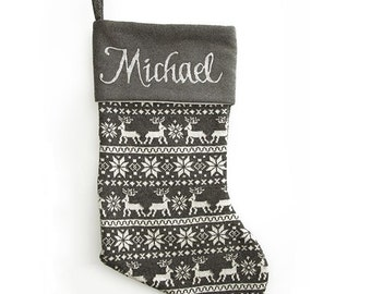 Personalised Grey Knitted Christmas Stocking