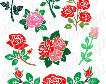 Roses SVG, Floral svg, Flower SVG cut File, Flower svg, Roses Vector File, Roses Clip Art, svg, dxf, png, ai, eps, Roses svg Cut