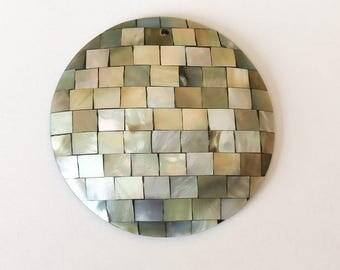 Mosaic Shell Pendant Blacklip Shell 50mm Round