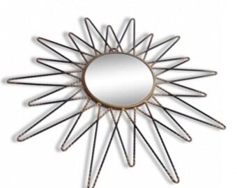 French vintage Mirror - convex mirror - gold metal mirror - vintage mirror metal - sunburst mirror - mirror 1960