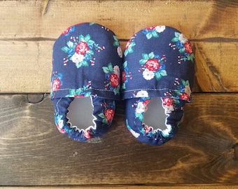 3-6 month navy and red floral fabric moccasins, baby crib shoes, infant booties.