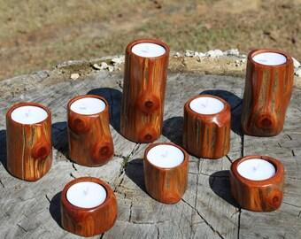 Cedar Log Tea Light Candle Holders