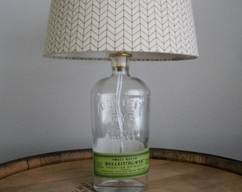 UPcycled Liquor Bottle Lamp - Bulleit Rye - Frontier Whiskey - Small Batch - SHADE NOT INCLUDED
